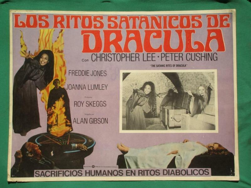 THE SATANIC RITES OF DRACULA Horror HAMMER PETER CUSHING MEXICAN LOBBY CARD
