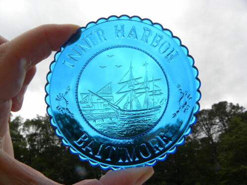 Millville Art Glass MAG Inner Harbor Baltimore Bright Blue Emb Glass Cup Plate