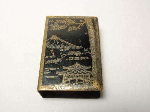 Vintage Japanese Mountain Scene Metal Matchbox Holder Case *As-Is*