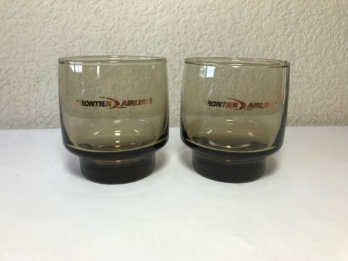 Frontier Airlines Cocktail Glasses Smoke Gray Glass Logo Aviation Vintage Libbey