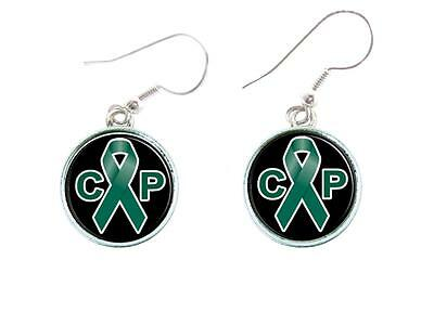 Cerebral Palsy Ribbon (Cerebral Palsy Awareness Green Ribbon Circle Silver Wire Earrings Jewelry)