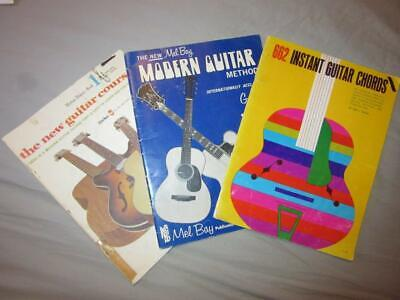 ~3~ Vintage PLAY GUITAR BOOKS Modern Method-Instant Guitar Chords-New Course