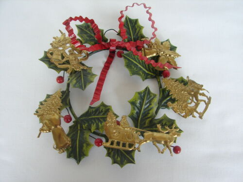Vintage Dresden Petites Choses Brass Christmas Wreath W/ Holly Leaves & Berries