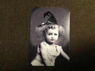 Cute little girl witch tintype C1207RP - Little Girl Witch