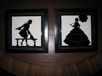 Matched Pair Arts & Crafts  Ceramic Mantle Tiles Black & White Silhouettes c1900 - Arts Crafts Silhouette