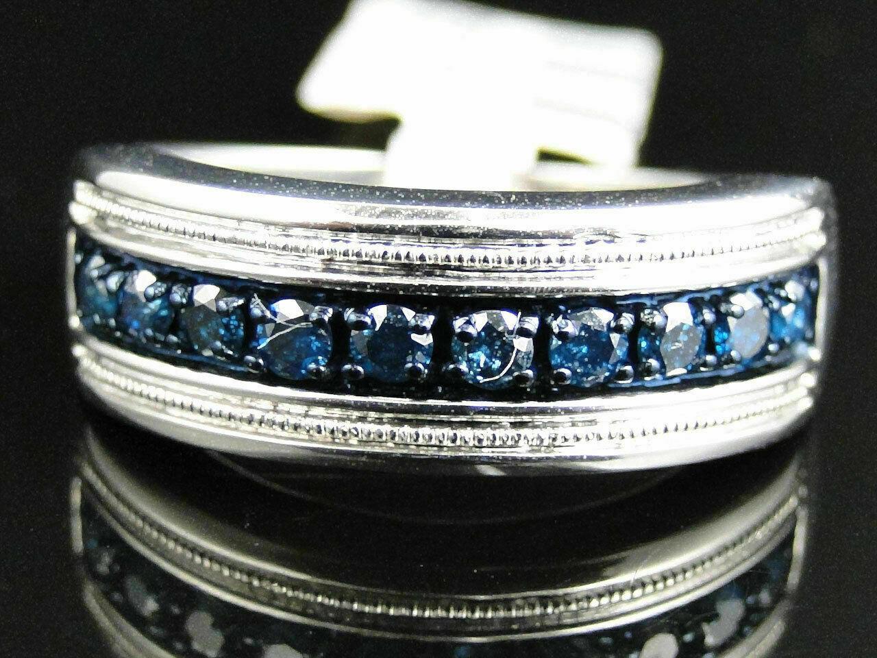 1 Ct Round Cut Blue Diamond Wedding Engagement Mens Band Ring 14K White Gold Fn