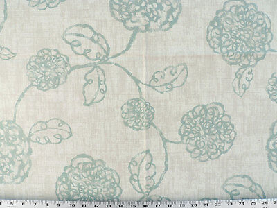 Contemporary Floral Fabric - Drapery Upholstery Fabric Contemporary Cotton Floral Blue-Green on Tan & Ivory