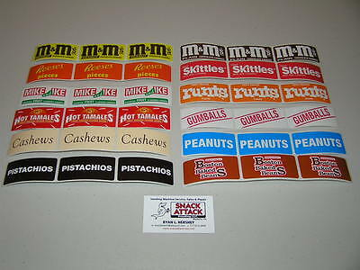 Vendstar 3000 Vending Machine 36 Rectangular Candy Label Stickers - Free Ship