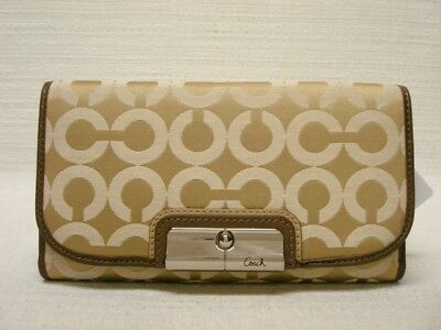 NWT COACH KRISTIN OPTICAL ART SIGNATURE CHECKBOOK WALLET 45105 KHAKI/BROWN