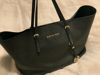 Genuine Michael Kors Large Black Jet Set Black Leather Tote Bag Handbag Purse