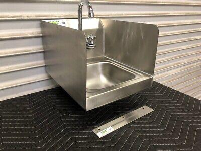 New Hand Sink Stainless Steel Wall Mount Side Splash Guards Regency 3002 Nsf