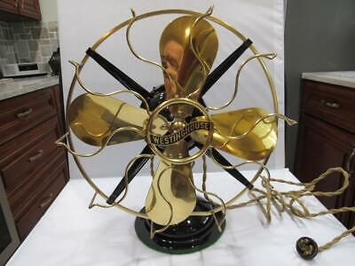 """Antique FULLY RESTORED  Westinghouse 3-Speed 12"""" Brass Cage & Blades Fan"""