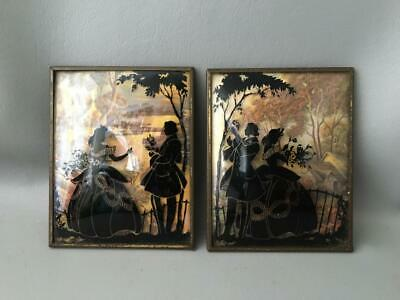 Convex or Domed Glass Picture Set Vintage or Antique Reversed Silhouette Shadow Picture Set