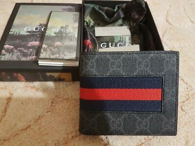 GUCCI GG Supreme Web Wallet with Stripe - Men Bifold Card Wallet