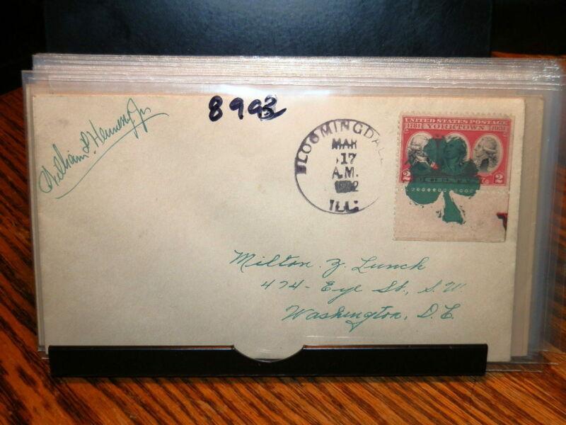 #8993,Bloomingdale,Ill Green Shamrock Cancel 3/17/32 Seldom Seen Cover