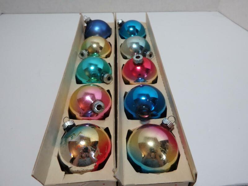 Lot of 10 Shiny Brite Christmas Ornaments with Box