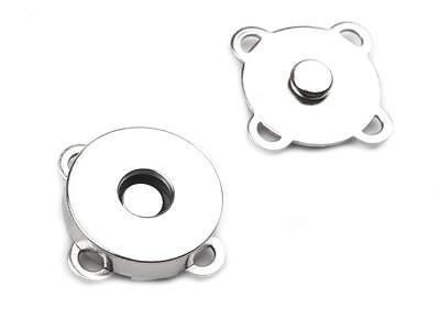 10 Stück Magnetverschluss Magnetknopf Verschluss  silber 18 mm NEUWARE