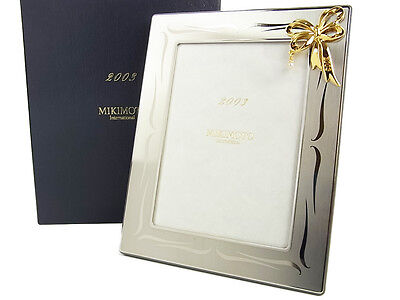 Auth MIKIMOTO International Pearl Ribbon Picture Frame Stand UNUSED F/S 12907e