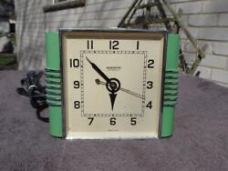 Hammond 30's Square Dial Diner Wall Clock Electric Push Start Clock Green Chrome