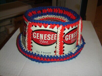 Vintage GENESEE Beer Can Hat Crochet Knit Retro Handmade Red White Blue