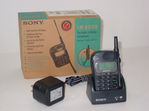 Sony CM-RX100 Portable Cell Phone VINTAGE Cellular Telephone w/ Charger