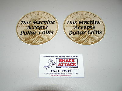Snack Or Soda Vending Machine 2 Decals This Machine Accepts Dollar Coins.