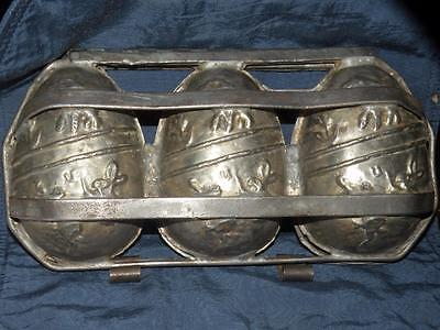 ANTIQUE triple EASTER EGG CHOCOLATE MOLD rabbit lamb birds flowers