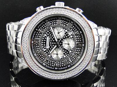 Mens 51 Mm Jojino Joe Rodeo Aqua Master Chrono Metal Band Diamond Watch Mj 1190