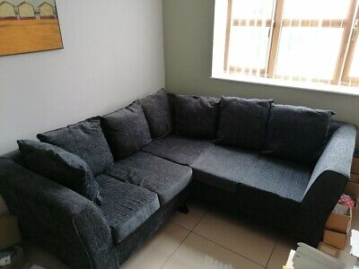 Corner L shaped Settee Sofa Grey Fabric 2 metres x 2 metres Good Condition.