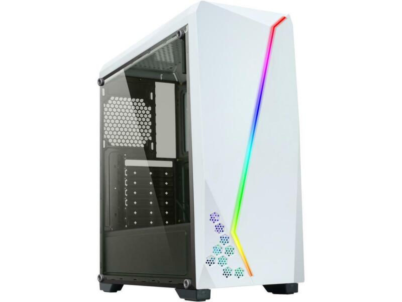 DIYPC S2-W-RGB White USB3.0 Steel/ Tempered Glass ATX Mid Tower Gaming Computer