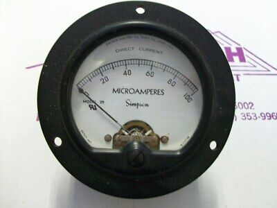 Simpson Electric Round Style Analog Panel Meter Dc Ammeters 0-100 Microamperes