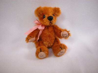 "World of Miniature Bears 3"" Vintage Fabric Bear Gold #362 Collectible Bear"