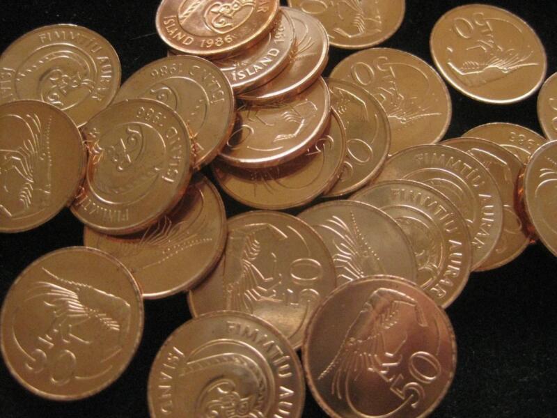Iceland 50 Aurar 1986 BU Northern Shrimp  BU LOT of 25 coins