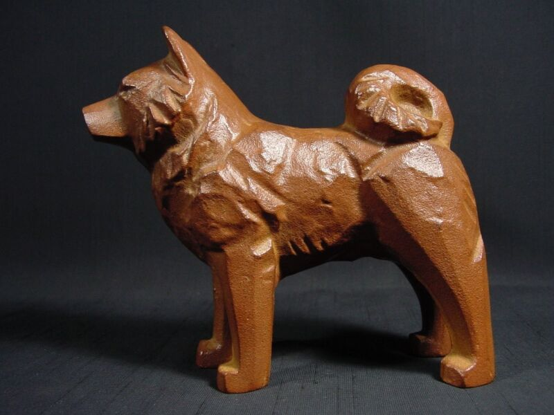 Akita Dog Cast Iron Japanese Standing Waiting for Command Artist Signed Mascot