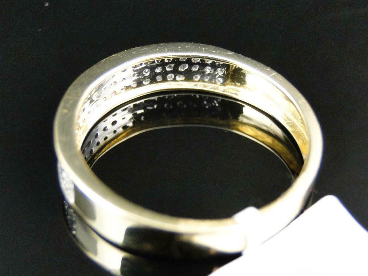 0.50Ct Round Cut Diamond Mens Wedding Engagement Band Ring 14K Yellow Gold Over 2