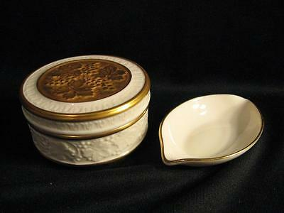 LENOX GRAPE & LEAF COVERED DRESSER JAR & ONE SOLITAIRE PATTERN SMALL ASHTRAY
