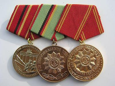 TRIO 3 X DDR EAST GERMAN ARMY POLICE MEDAL MEDALS