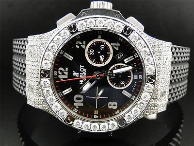 Mens brand new Hublot Big Bang 44mm Evolution Rubber Band diamond watch 10 Ct
