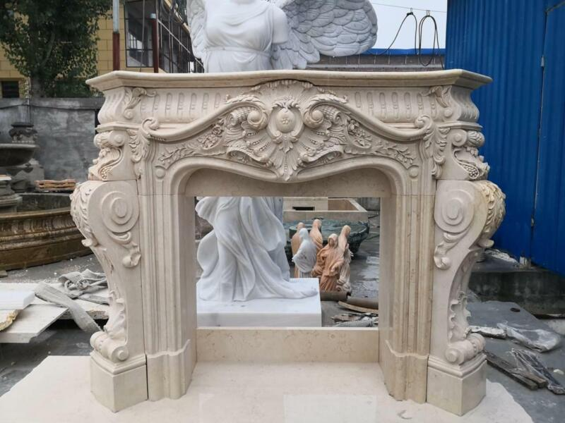 BEAUTIFUL  FRENCH STYLE CARVED MARBLE FIREPLACE MANTEL - JD808