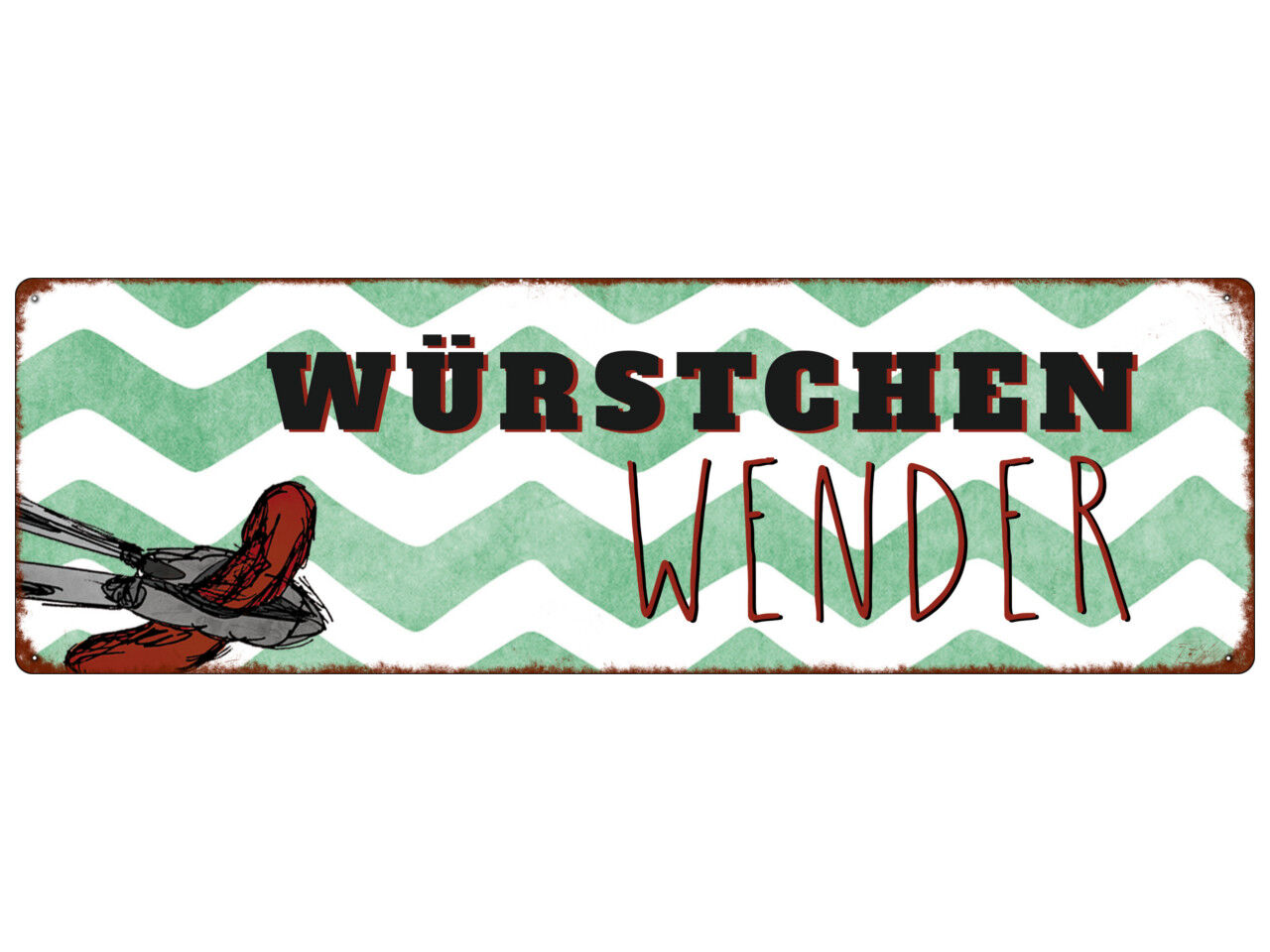 METALLSCHILD Blechschild WÜRSTCHENWENDER Grillsaison Sommer Grillen Grillplatz