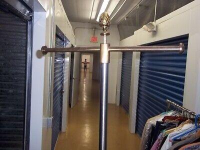 2 Pcs Brass Base Adjustable Height Post 2 Arm Garment Rack Shirts Dresses Bags