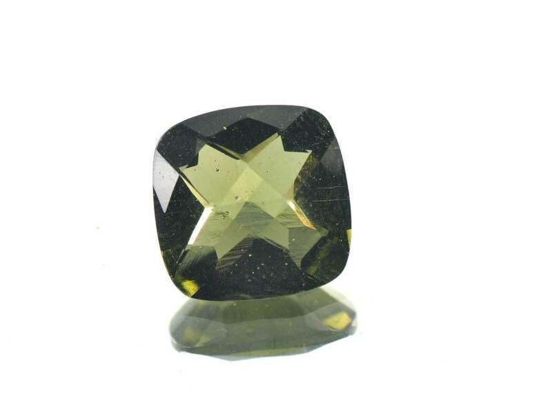 2.89cts SQUARE standart cut 10x10mm moldavite faceted cutted gem BRUS1167