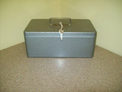 Vintage Swanco Gray Metal Cash Money Box W2 Keys