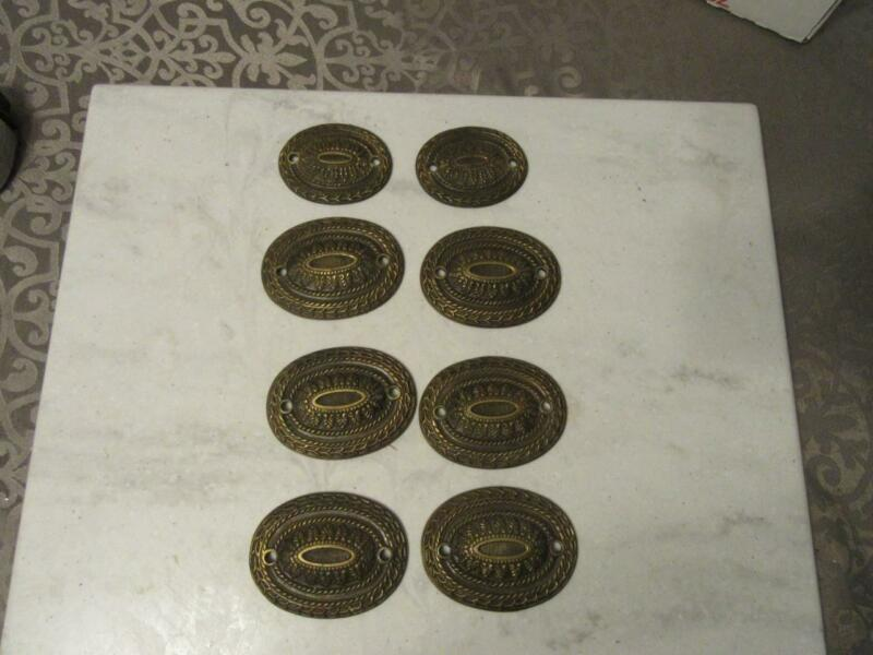 8 PC ANTIQUE DRAWER ESCUTCHEONS PULL COVERS