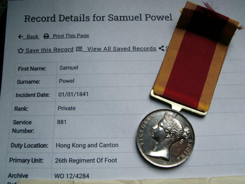 Scarce casualty Victorian China Opium war 1842 medal Pte Powell Cameronian Regt