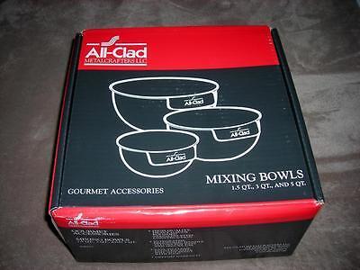 All-Clad ~High Quality Stainless Steel 3-Pcs Mixing Bowl (1.5, 3, 5 QT)~$170~NIB