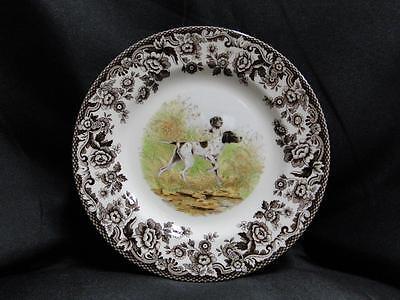 "Spode Woodland Flat Coat Pointer Hunting Dog, England: Salad Plate (s), 7 3/4"""
