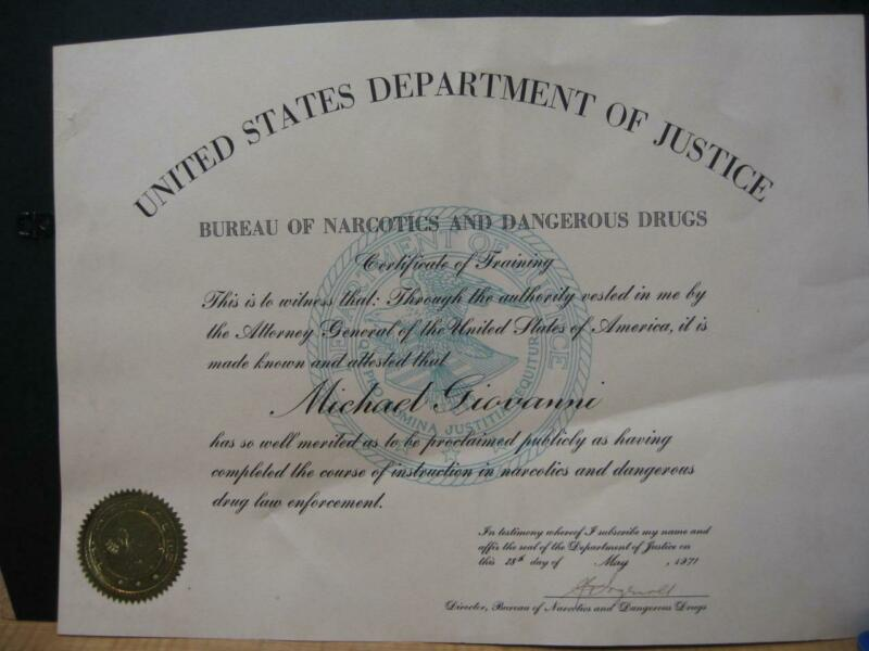 1971 U.S. DEPT. OF JUSTICE BUREAU OF NARCOTICS & DANGEROUS DRUGS CERTIFICATE