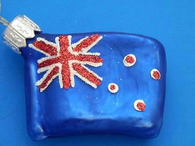 NEW ZEALAND FLAG EUROPEAN BLOWN GLASS CHRISTMAS TREE ORNAMENT