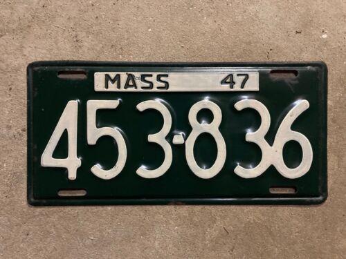 Massachusetts 1947 license plate 453 836
